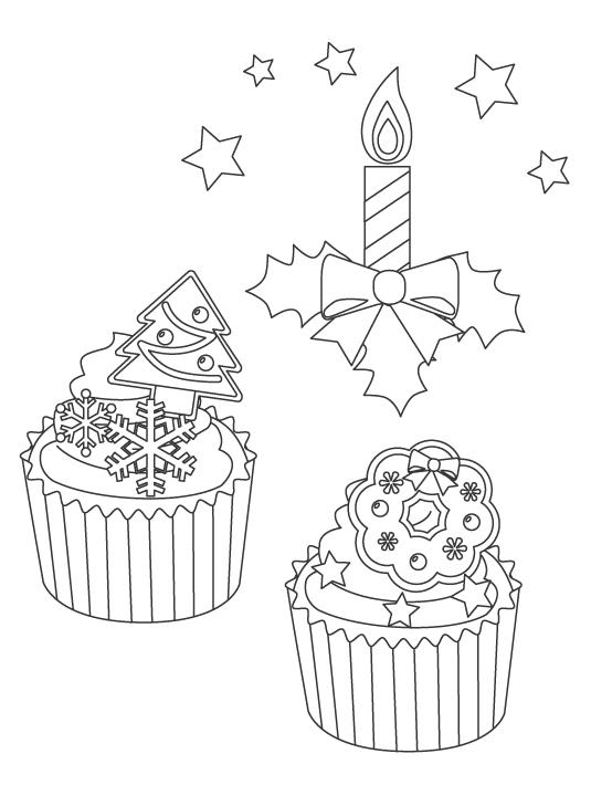 クリスマスキャンドルとカップケーキのぬりえイラスト