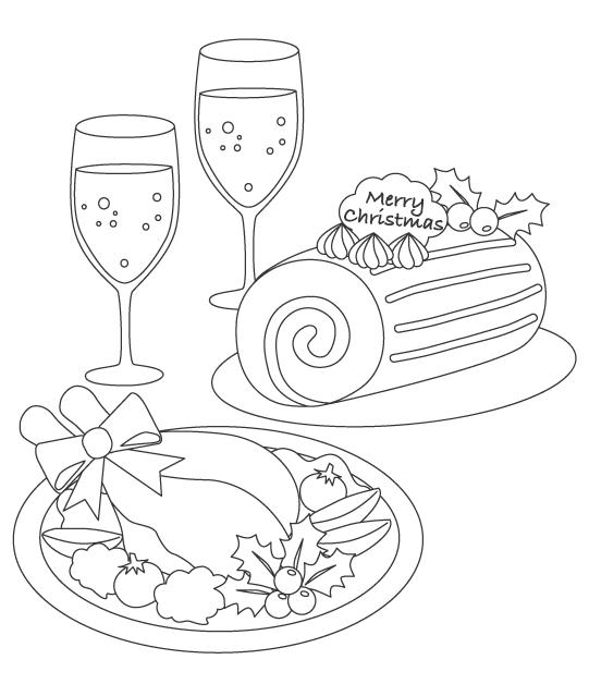 シャンパンやローストチキンのぬりえイラスト