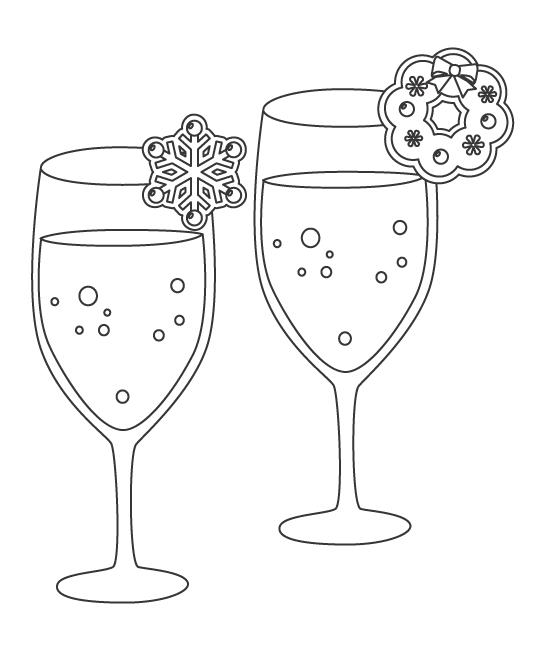 クリスマス・シャンパンのぬりえイラスト