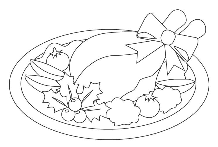 クリスマスのローストチキンのぬりえイラスト