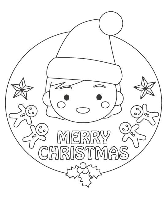 クリスマスと女の子のぬりえイラスト
