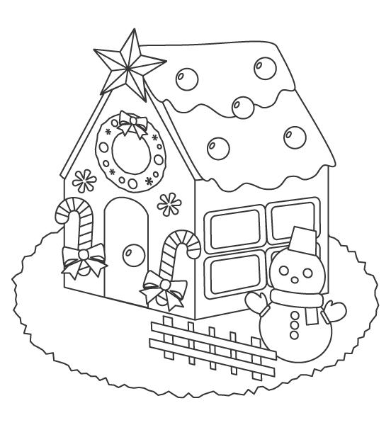 クリスマス・お菓子の家のぬりえイラスト