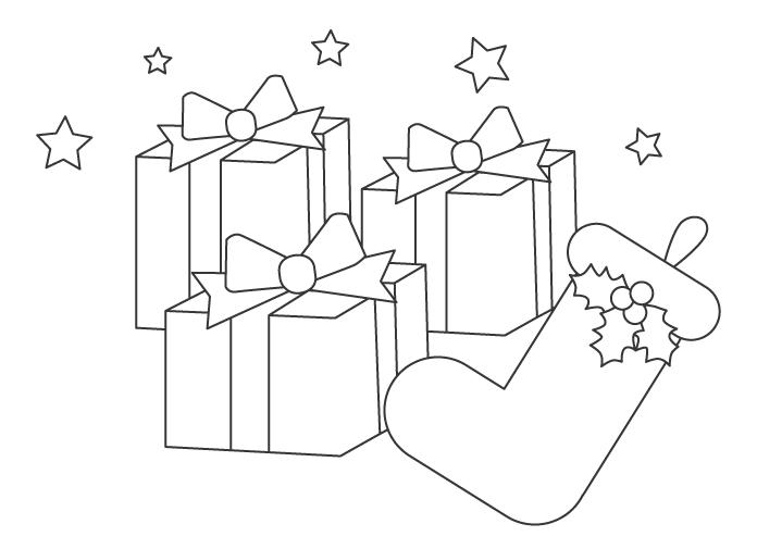 クリスマスブーツとプレゼントのぬりえイラスト