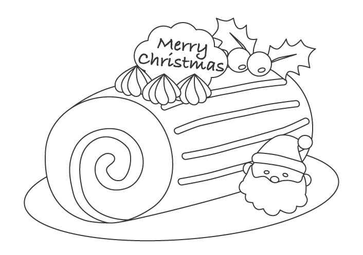 クリスマスのロールケーキのぬりえイラスト