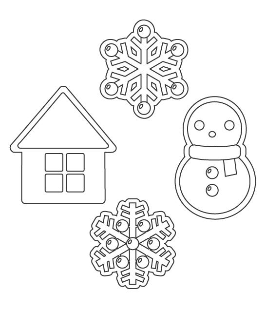 雪だるまと雪の結晶とお家のぬりえイラスト