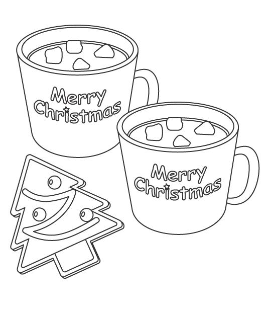クリスマスのツリーのお菓子とスープのぬりえイラスト