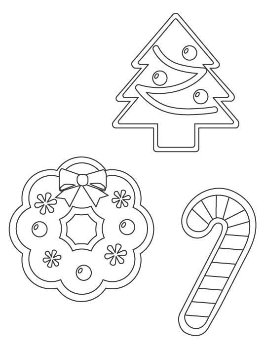 クリスマスリースやツリーのぬりえイラスト
