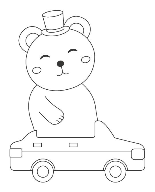 サーカスで車に乗っているクマのぬりえイラスト