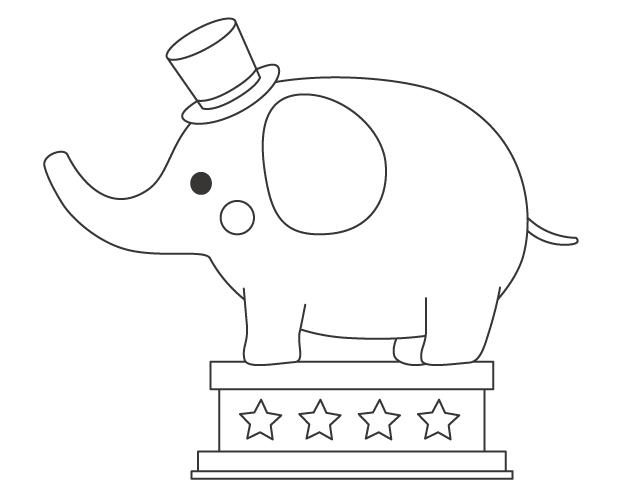 サーカスをするゾウ(象)のぬりえ