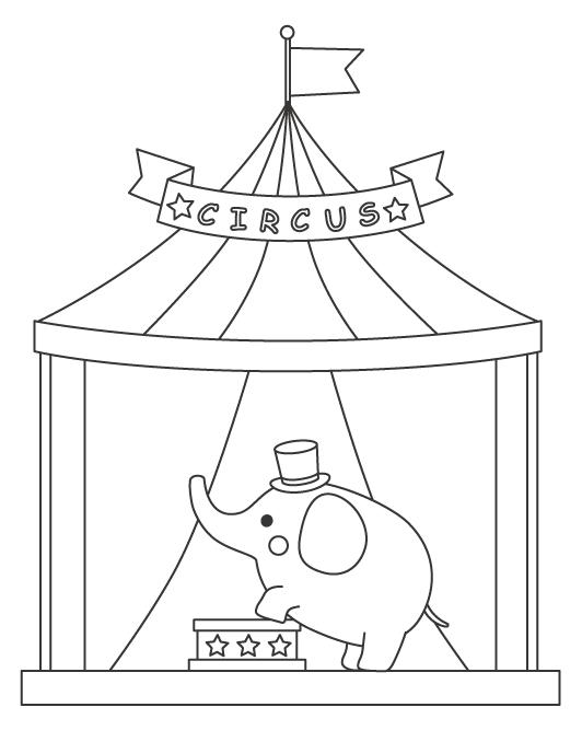 サーカスをする象(ゾウ)のぬりえイラスト