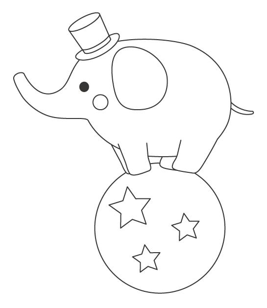 サーカスで玉に乗る象(ゾウ)のぬりえイラスト