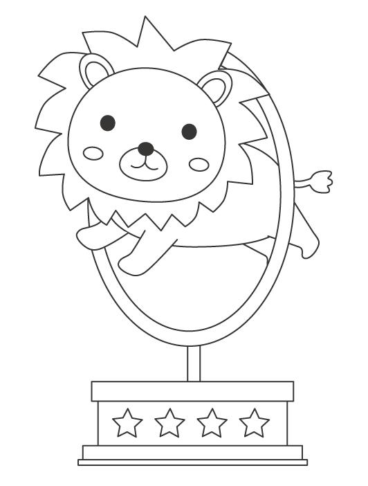 サーカスで輪をくぐるライオンのぬりえ