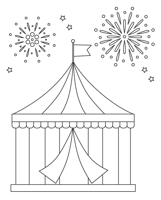 サーカスのテントと花火のぬりえイラスト