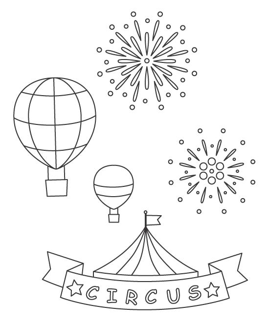 サーカスのテントと気球と花火のぬりえイラスト