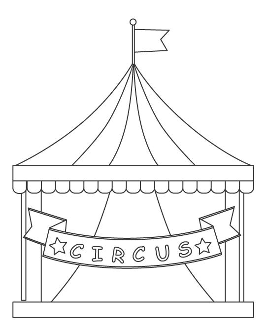 サーカスを開催しているテントのぬりえイラスト