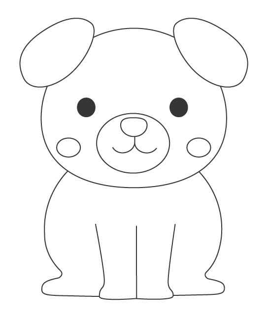 かわいい犬のぬりえイラスト02