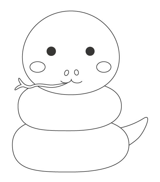 かわいいヘビ(巳)のぬりえ
