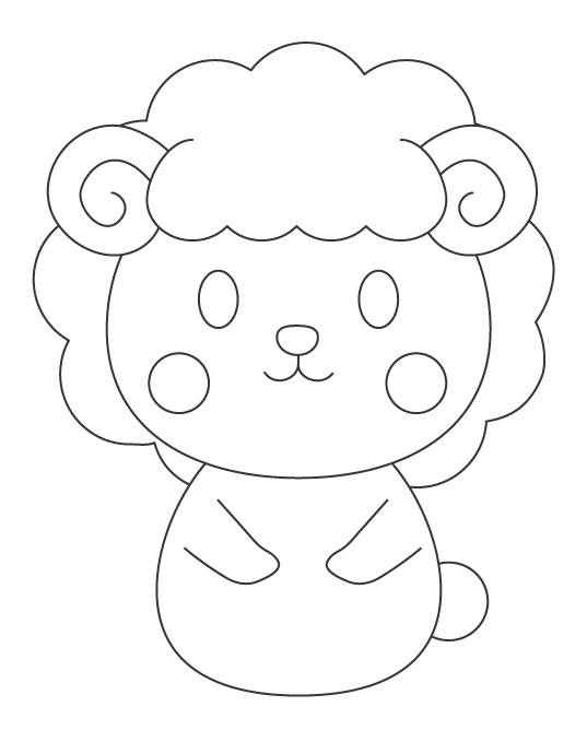 かわいい羊(ひつじ)のぬりえイラスト