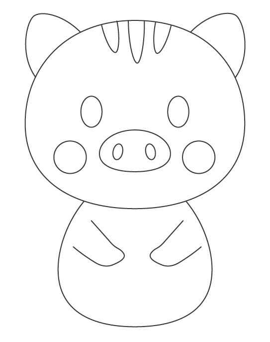 かわいいイノシシのぬりえイラスト02