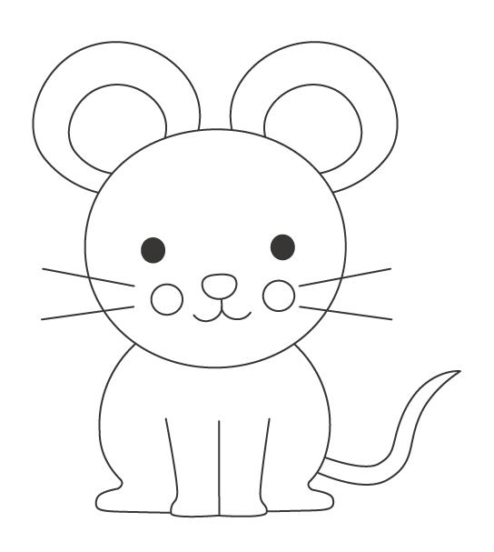 かわいいネズミのぬりえイラスト