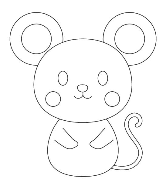 かわいいネズミのぬりえイラスト02