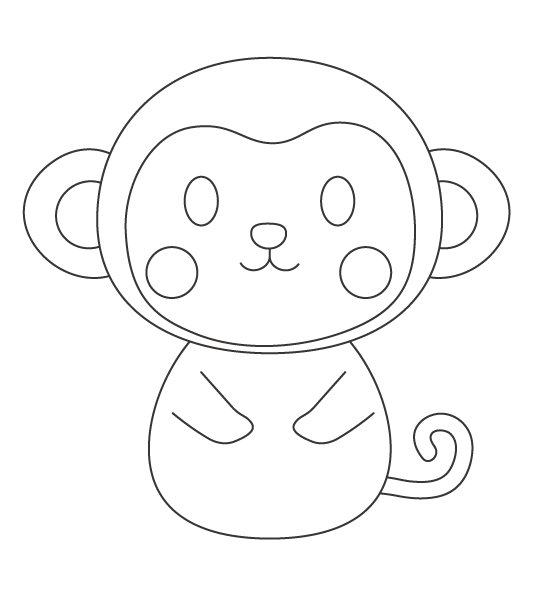 かわいいおさるさん(猿)のぬりえイラスト