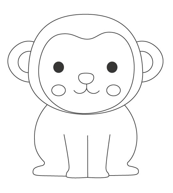かわいい猿のぬりえイラスト