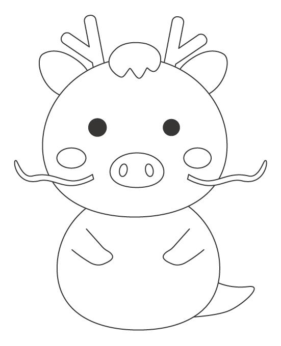 かわいい竜(辰)のぬりえイラスト