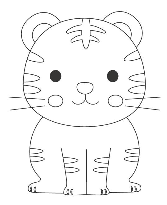 かわいい虎のぬりえイラスト
