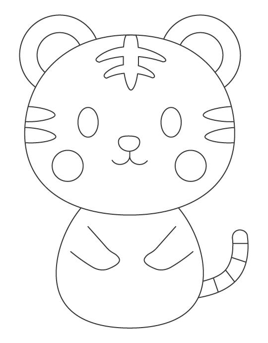 かわいい虎のぬりえイラスト02