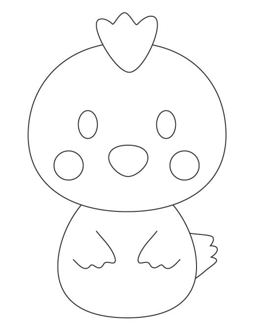 かわいいトリさん(酉)のぬりえイラスト