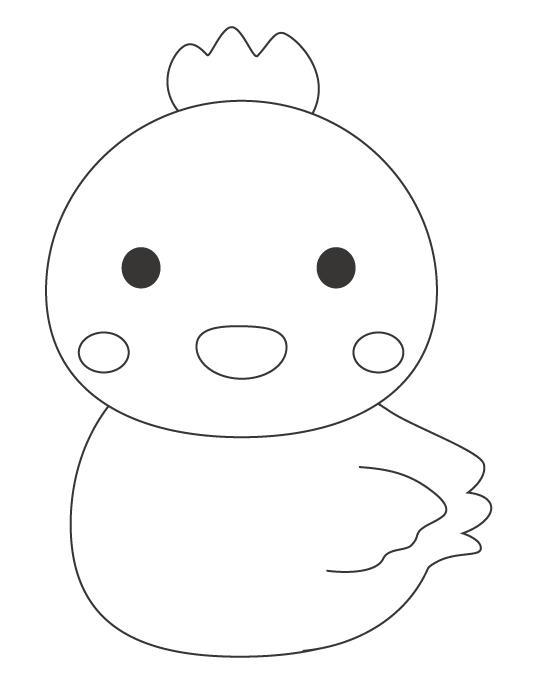 かわいいヒヨコ(酉)のぬりえイラスト