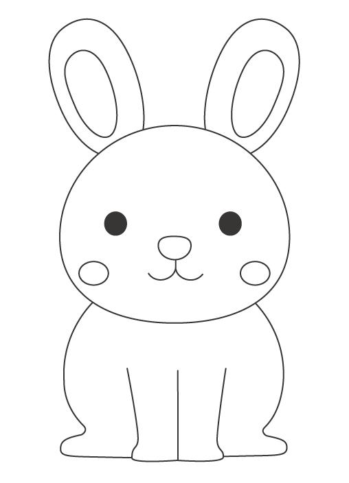 かわいいうさぎ(兎)のぬりえイラスト
