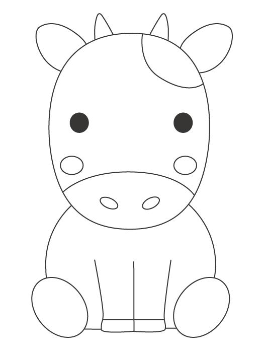 かわいい牛のぬりえイラスト