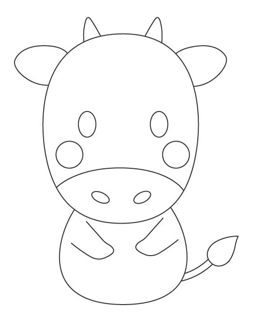 かわいい牛のぬりえイラスト02