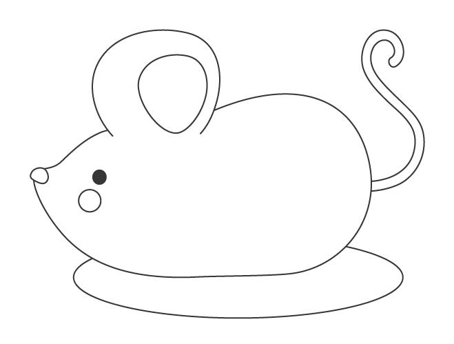 ネズミ(子)の置き物のぬりえイラスト