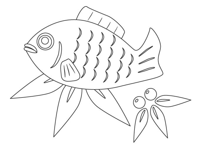 縁起物の鯛(たい)のぬりえイラスト