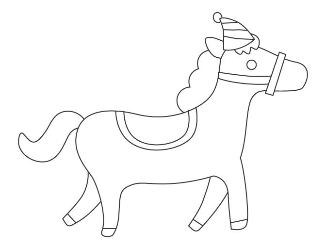 サーカスの馬のぬりえ