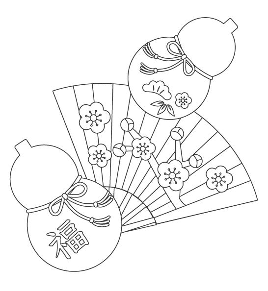 ひょうたんと扇子のぬりえイラスト