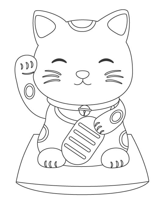 招き猫のぬりえイラスト