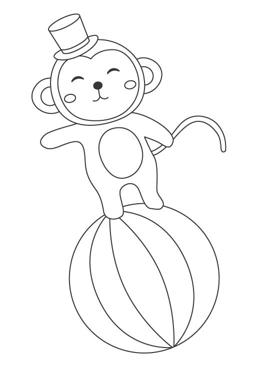 サーカスで玉乗りをするお猿さんのぬりえ