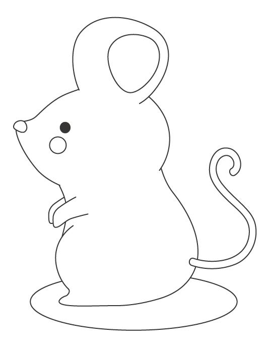立ち姿のネズミのぬりえイラスト