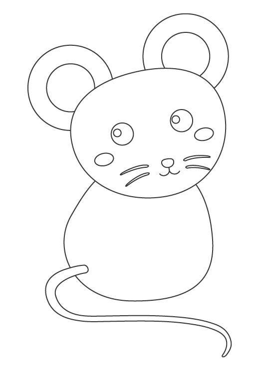 振り向き姿のネズミのぬりえイラスト