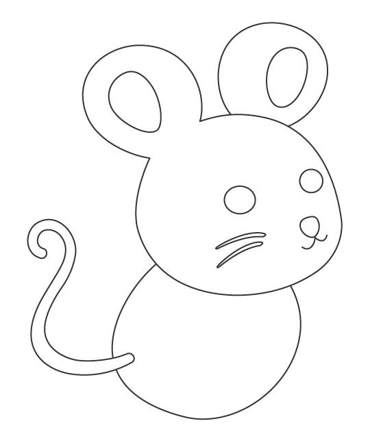 ネズミ(子)のぬりえイラスト