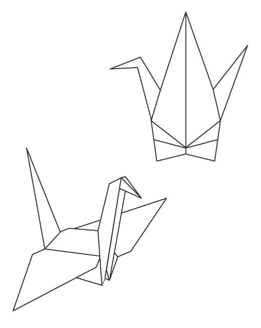 折り鶴のぬりえイラスト
