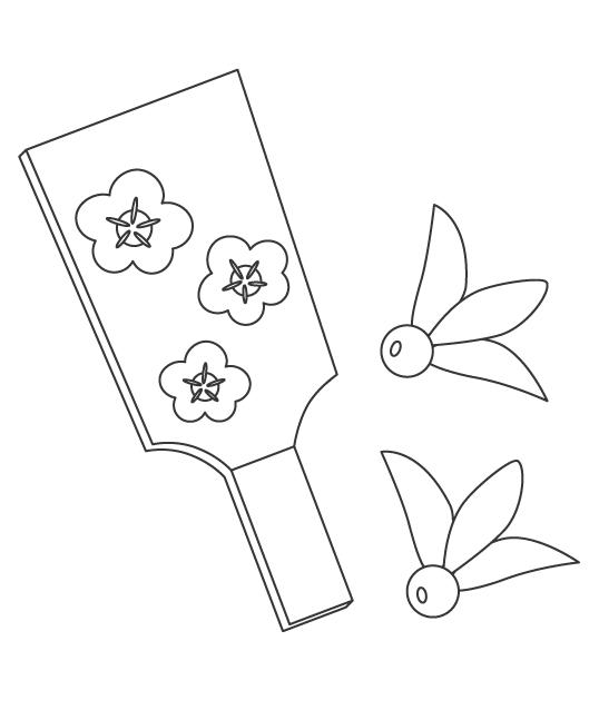 梅の羽子板と羽根つきのぬりえ