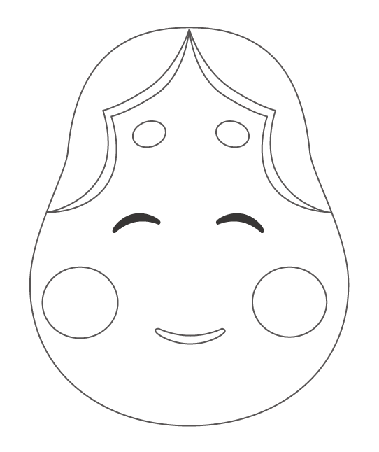 おかめ・お多福さんのぬりえイラスト02