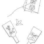 凧上げと羽子板のぬりえイラスト