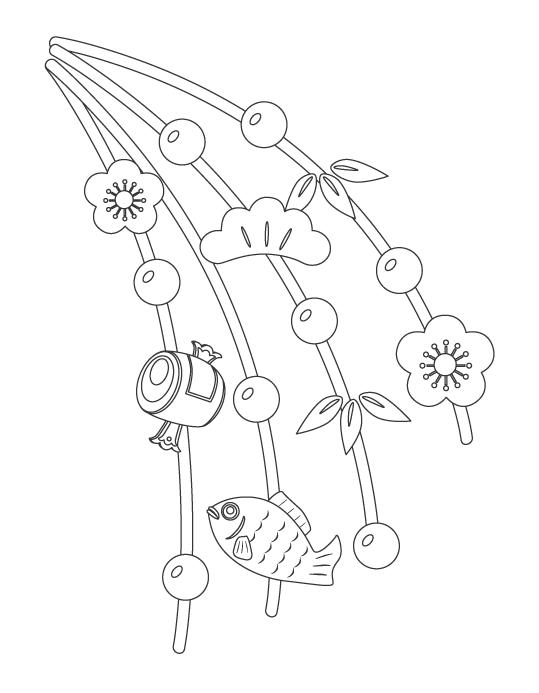 お正月の玉飾り(まゆ玉)のぬりえイラスト