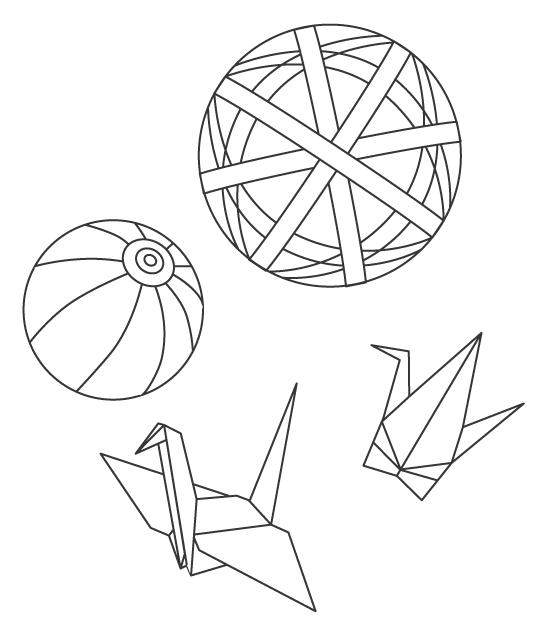 手毬と折り鶴のぬりえイラスト
